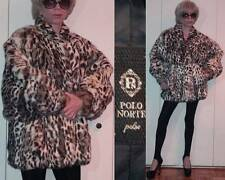 POLO NORTE PELZE RABBIT FUR JACKET CHEETAH LEOPARD PRINT BATWING CUFFED SLEEVE