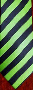 """Brothers Mens Necktie Tie Green Navy Blue Striped Repp Silk 58"""""""