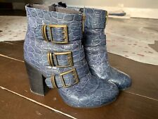 Sisley Blue Buckle Ankle Boots Size 5