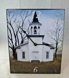 """Metal Wall Clock - """"Amazing Grace"""" White Country Church (9.5"""" x 12"""") Religion"""