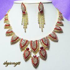 Austrian Ruby Red Rhinestone Crystal Golden Bridal Necklace Earrings Set S1118R