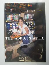 Vtg Photo of Excited African American Lady In Las Vegas Showing Winning Pot L3