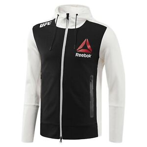 Reebok Official UFC League Fight Kit Full Zip Walkout Hoodie Chalk Black