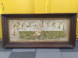 Victorian Punched Paper Motto PEACE BE STILL SEA AND SHIP MOTIF