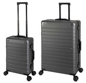 Aluminium Reisekoffer Set, Handgepäck S+ Koffer L Alu Hartschale Trolley Graphit