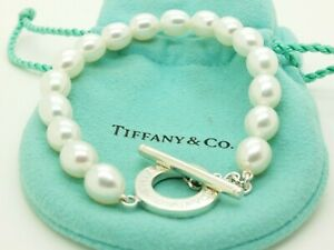 Tiffany & Co. Sterling Silver Pearl Bead 7.5 Toggle Bracelet Pouch