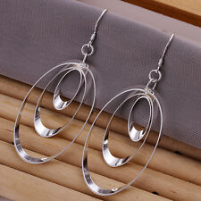925 GORGEOUS SILVER CELTIC TRIPLE WORLD OVAL DROP EARRINGS VALENTINES DAY GIFT