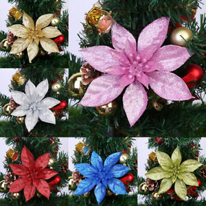 10X Christmas Large 15cm Hollow Glitter Flower Tree Hanging Party Xmas Decor