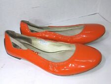 Tsubo 8342-FIR Orange Patent Leather Ballet Flats Womens Size 9.5