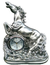 Large Silver Mantel Clock Horse Big Home Office Decor Watch Gift Vintage