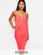 Club L Womens Midi Bodycon Dress With Cami Strap Size 8 BNWT RRP £15 Neon Pink