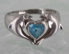 Size 3 1/2 925 Signd 3351 Artistica Sterling Turuqoise Crystal Two Dolphins Ring