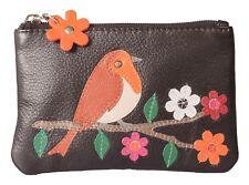 Lindo petirrojo Mala Cuero Negro Lujo protegido RFID Monedero pájaro 4151 97