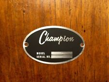 Champion Aircraft DEA Required Arcft Identification Data Plate Etched Stainless