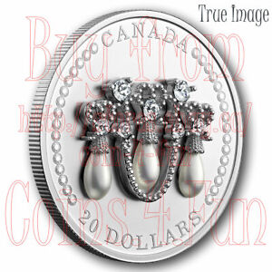2021 HM Queen Elizabeth's Lover's Knot Tiara $20 Pure Silver Coin with Swarovski
