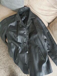 Smart Ben Sherman Mens Black Leather Jacket Size Large
