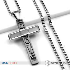 Unisex Stainless Steel Black Love Letter Cross Pendant w/ Square Box Necklace 1D