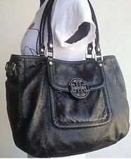 TORY BURCH AMANDA TOTE BAG BLACK PATENT LEATHER MEDIUM