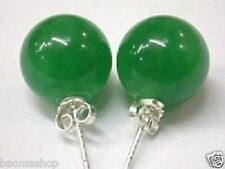 Pair Of nature 10mm green jade earring silver stud