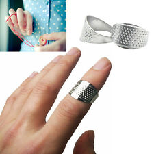 2Pcs New Tailors Quilting Alloy Sewing Thimble Ring Finger Protector Silver Tone