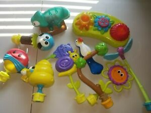 Lot of 10 Evenflo Bumbly rainforest Exersaucer Switch-a-Roo toy attachments