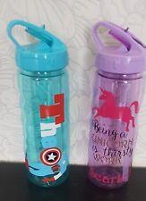 Enfant Personnalisé école bouteille d'eau/Flip Top Bouteille avec paille