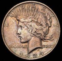 1934-D $1 US Silver Peace Dollar TOP 50 VAM-3, MEDIUM D, TONING - VERY FINE (VF)