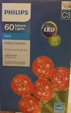 Philips 60 ct LED Faceted Sphere String Lights- Red Christmas Valentine's NEW
