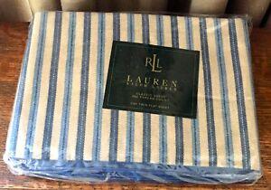NEW Ralph Lauren TWIN Flat Sheet NEWBURGH Stripe Blue Tan