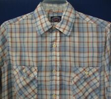 Vtg Levis Large Tapered Fit Shirt Blue Orange Plaid White Tab Fabric Worn Thin