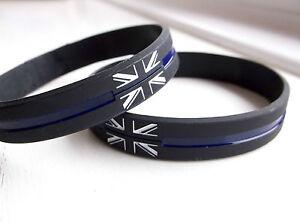 THIN BLUE LINE UNION JACK UK GB POLICE OFFICER MOURNING BADGE WRISTBAND BRACELET
