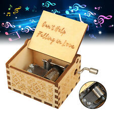 """Wooden Music Box """"Can't Help Falling in Love"""" Engraved Musical Case Box Toy"""