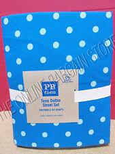 Pottery Barn Teen Tonal Dottie Bed College Sheets Set Queen Teal Light Blue