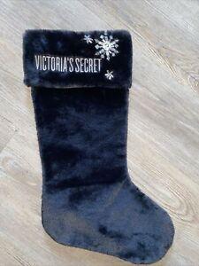 Victoria Secret New Soft Plush Large Christmas Stocking  Black & Rhinestone New