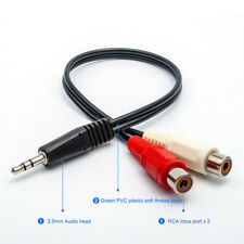 3.5mm Headphone Male Plug Jack to 2 RCA Female AV Audio Stereo AUX Cable Cord US
