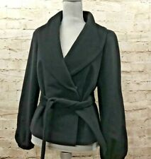 Talbots Womens 8 Wool Angora Blend Black Double Breasted Button Coat Blazer