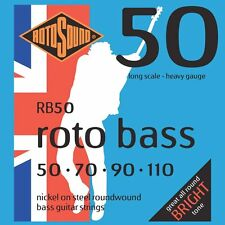 Rotosound RB50 Nickel (Unsilked) Bass Guitar Strings 50-110 + Picks