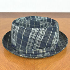 VTG Mens Clay Poole Kaufmanns Pittsburgh Blue Plaid Fabric Fedora Hat Size 7 1/4