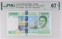 Central African States CONGO 5000 FR. 2002 P 109T New Superb Gem UNC PMG 67 EPQ