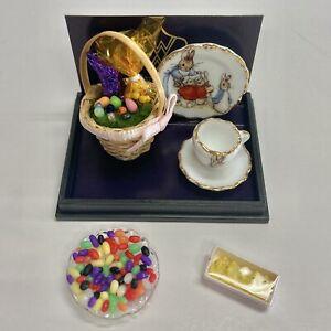 Reutter Porcelain Beatrix Potter Easter Basket Set AND JellyBeans AND Candy