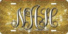 Monogram Initials Glitter Airbrush License Plate Gold design Car Auto Tag