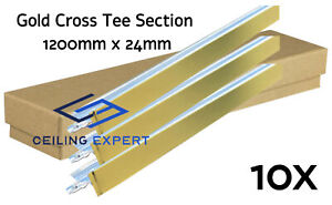 10x Gold Cross Tee Section 1200 x 24mm Suspended Ceiling Grid System Component