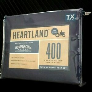 BLUE JEAN 3-pc Heartland 400TC 100% HomeGrown Cotton Sateen Twin XL Sheet Set