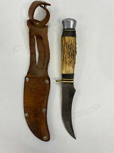 "Stag Handle Wildcat B91X Knife Solingen Germany Fixed 9"" Blade, Original Sheath"