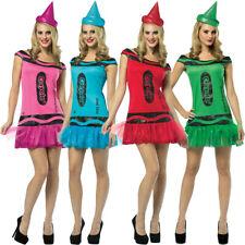 PACK OF 4 CRAYOLA CRAYON COSTUME DRESS AND HAT GROUP FANCY DRESS HEN PARTY