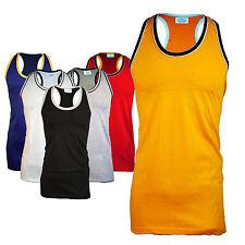 MENS SLEEVELESS LONG T- SHIRT VEST MUSCLE BACK ROUND NECK 6 COLOURS S M L 5XL