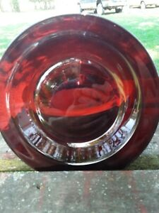 Arcoroc Ruby Red Glass 8.5 Inch Rimmed Salad Soup Bowl Plate set of 6.
