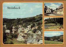 DDR Postkarte STEINBACH Kr. Annaberg color Mehrbild-AK ua. Freibad, Dorfansicht