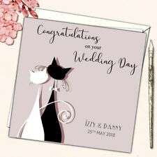 Personalised Wedding Anniversary Engagement Congratulations Card Cat Couple 6""