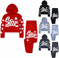 Girls Tracksuit New Kids Stars Hoodie And Joggers Set Christmas Age 5 - 13 Years